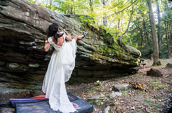 Climbing in Wedding Dress